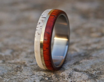 Deer antler,padouk wood and stainless steel ring with brass inlay