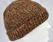 Warm Alpaca Winter Hat. Handspun, hand knit beanie, toque or watch cap in brown tones. Serious warmth for serious cold!