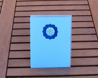Flower Button Magnet Notecard, Blank Card, Notecard, Get Well Card, Greeting Card, Hello Card, Stationery, Blue Card