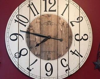 28 Inch Farmhouse Clock Rustic Wall Clock Large Wall Clock