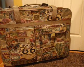 Vintage Pioneer Express Route 66 suitcase with wheels