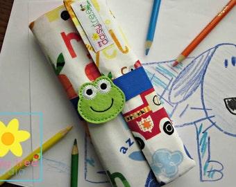 Pencil Roll, Pencil Wrap, Pencil Organizer, Color Pencil Holder, Color Pencil Case, Colored Pencil Roll, Color Pencil, Colored Pencils, Frog