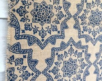 BURLAP Table Runner Blue Medallion Print RUNNER MANDALA