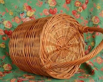 Round Wicker Basket with Lid, Round Willow Basket, Middle Round Basket, Round Lidded Basket, Jane Birkin Style Basket, Basket Purse
