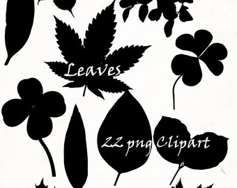 Autumn leaves Silhouette png ,22 png Clipart , Instant Download,  clipart, png