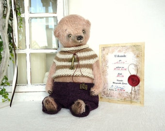 "OOAK Teddy, artist Teddy Bear, artist Teddy bear ""Luca"" 26 cm with certificate, vintage"