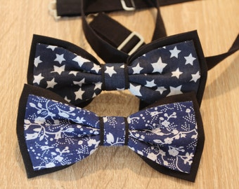 Double color bow tie, Black and Blue Man Papillon, Wedding accessories
