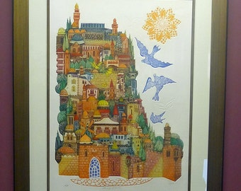 Custom Framed, Limited Edition Amram Ebgi Lithograph
