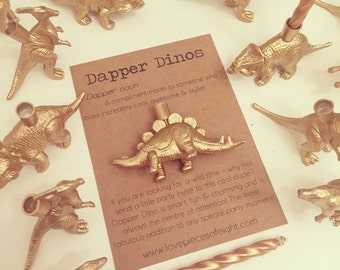 Dapper Dino - Dinosaur Party Cake Candle Holder - Available in Gold or Silver - Perfect for Parties / Birthdays / Hen Parties / Weddings