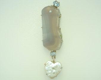 Agate Aquamarine Freshwater Pearl