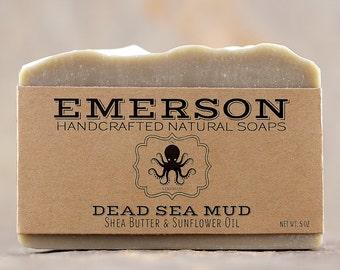 Dead Sea Mud Soap • Sensitive Skin Soap, Vegan Soap, All Natural Soap, Palm-Free Soap, Handmade Soap, Unscented Soap