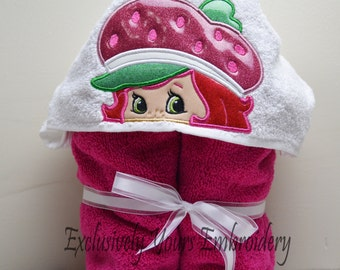 READY TO SHIP Berry Girl Children's Hooded Towel