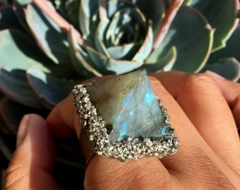 Labradorite Pyramid and Pyrite Ring
