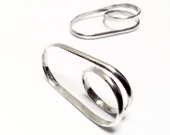 Two finger ring. Sterling Silver Jewel. Minimalist. Modern. Sculptural.