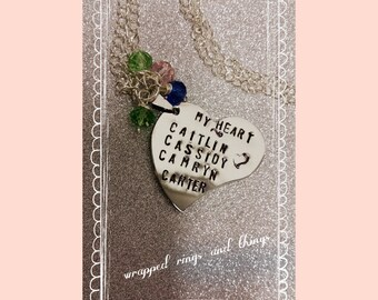 personalized stamped my heart pendant necklace