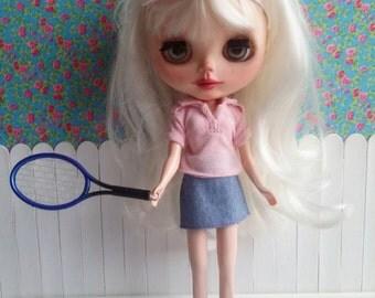 Blue tennis racket ball for Blythe & Dolls