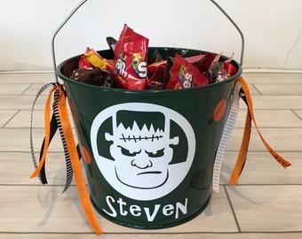 Halloween Bucket- Metal Bucket- Halloween bag- Trick or Treat Bucket- Personalized Halloween Bucket- Personalized Bucket- FrankensteinBucket