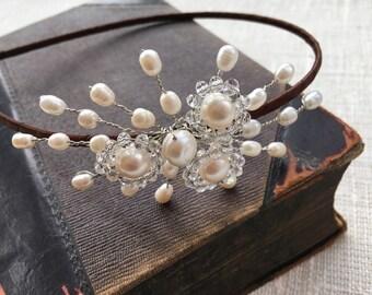 Small side pearl tiara, bridal tiara, bridal headpiece, bridal hairband, wedding hair accessories, wedding hair piece, tiara