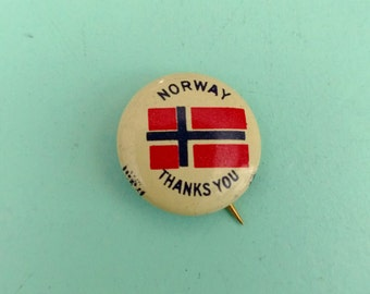 Vintage Norway Thanks You Pin Back Button WWII Free Shipping