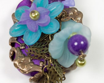 Purple and Blue Lucite Floral necklace