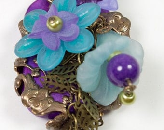 Purple and Blue Asymmetric Filigree and Lucite Florals