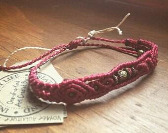 Magenta adjustable macrame bracelet