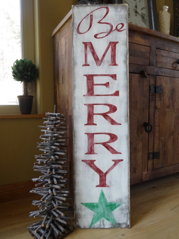 Be Merry Christmas Sign 10x40 Hand Painted Wood Sign