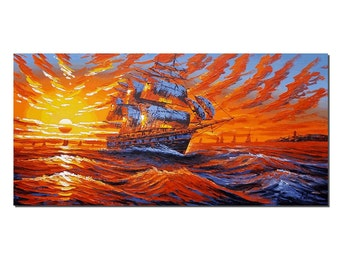 Sunrise Painting, Canvas Art, Abstract Art, Large Wall Art, Canvas Oil Painting, Oil Painting, Ship Painting, Abstract Painting, Large Art