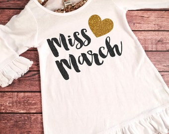 Miss March Birthday Girl Dress Gold Sparkle Birthday Shirt Baby Girl Birthday Dress Girl  Birthday Outfit, Choose your month