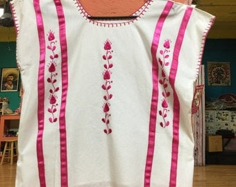Simple White and Pink Mexican Huipil Blouse