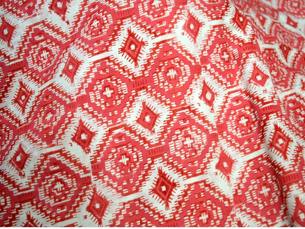 Block print cotton fabric soft cotton fabric by the yard for Printed cotton fabric