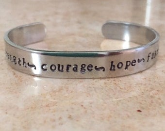 Stength courage hope love-hand stamped cuff