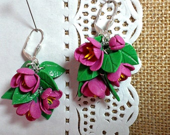 Crocuses. Earrings made of polymer clay. Handmade.