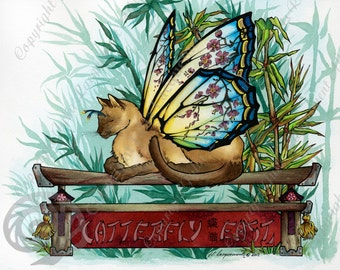 """Matted Fine Art Print, """"Catterfly East"""", A Fantasy Butterfly-winged Siamese Cat Painting"""