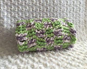 Super Soft Baby Blanket Chunky Green Purple Reversible Handmade Crocheted Ready To Ship Made in the USA