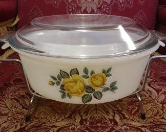 Vintage Phoenix Glass Presentation Tableware 3 1/2 Pint Casserole Dish Yellow Rose Decor in Original Packaging