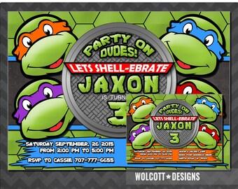 Ninja Turtles Invitation, TMNT, PRINTABLE INVITATION, Teenage Mutant Ninja Turtles Birthday Leonardo, Michelangelo, Donatello, Raphael