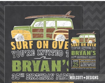 Surf Party Invitation, Beach Party invitations, Surfing Birthday Party, Summer Birthday Invitations, Woody Wagon Invite, Woodie Wagon