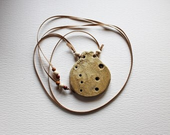 Plywood Pendant, sand color, ocarina shaped, hand painted, glossy craklé finish, grosgrain ribbon with wooden pearls FREE SHIPPING