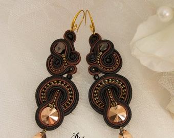 Soutache earrings.Black earrings.Large earrings