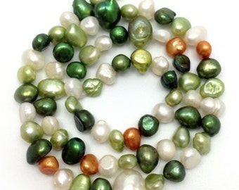 Freshwater pearls, green, white nuggets, 6-8 mm, 1 str