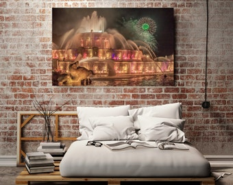 Chicago Photography, Chicago Buckingham Fountain Canvas, Canvas Gallery Wrap - Ready to Hang, Canvas Wall Decor, Fireworks 4 th July, Yellow