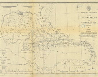 Gulf of Mexico & Caribbean Sea Historical Map 1879