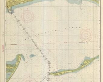 Mississippi Sound Map - Biloxi to Gulfport Historical Chart 1952