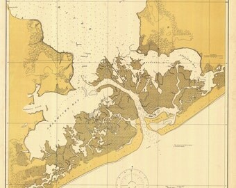 New River Inlet - North Carolina Historical Map 1917