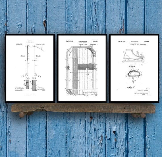 Ice Hockey Patent Poster Group of 3, Hockey puck, Hockey net, Zamboni, Hockey Puck, Hockey Wall Art, Hockey wall decor, NHL fan art, SP03