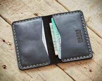 FREE SHIPPING Personalized Leather fold wallet for credit cards & business cards; Leather card holder, card case, Slim card holder (05)
