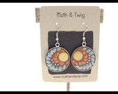 Mosaic Art Earrings, Dangle earrings, Moroccan Ceramic Tiles