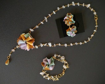 "Rose Quartz necklace necklace lariat flowers rose quartz collection ""Spring"""