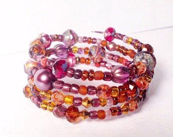SALE!! Plum and golden glass pearls and beaded bracelet